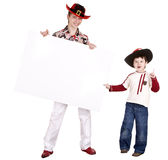 Child brother in halloween hat with white banner. Stock Image