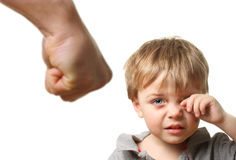 Child with bruise wiping tears Royalty Free Stock Photos