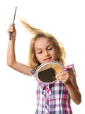 Child brushing hair isolated white background Royalty Free Stock Image