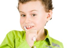 Child brushing teeth Royalty Free Stock Photo