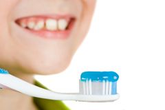 Child brushing teeth Royalty Free Stock Images