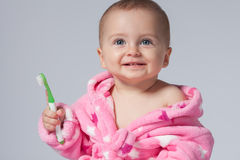 Child brushing teeth Stock Photo