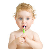 Child brushing teeth isolated on white Stock Image