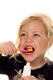Child brushing teeth. Toothbrush and toothpaste Royalty Free Stock Photos