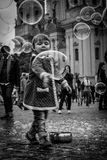 Child with bubbles soap Royalty Free Stock Photography