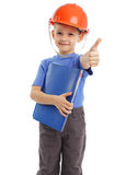 Child in a building helmet Stock Photo