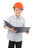 Child in a building helmet Royalty Free Stock Images