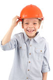Child in a building helmet Stock Image