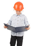 Child in a building helmet Stock Images