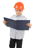Child in a building helmet Royalty Free Stock Image