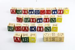 Arithmetic reading writing abc 123. Child building learning spelling abc 123 blocks alphabet reading writing arithmetic numbers counting Stock Photography