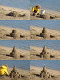 Child Building Sandcastle. Time sequence compilation of a little child (3) building a sand castle Stock Photo