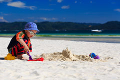 Child building sandcastle Royalty Free Stock Images