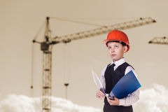 Child on the building site Royalty Free Stock Photography
