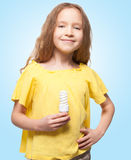 Child with bulb Stock Photography