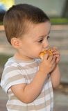Child with a bun. Portrait of a child eating a bun Stock Image