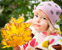 Child with bunch of autumn leaves Stock Image