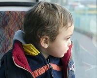 Child on bus Royalty Free Stock Images
