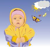 The child and butterfly. Vector Stock Images