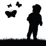 Child with butterfly illustration in nature Royalty Free Stock Photography