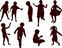 Child c. Set of playful children silhouettes. Vector illustration Stock Photography