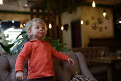 Child in cafe Royalty Free Stock Photo