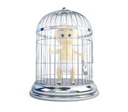 Child in a cage on a white background. Child in a cage 3d Illustrations on a white background Royalty Free Stock Image