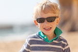Child at californian beach Stock Photos