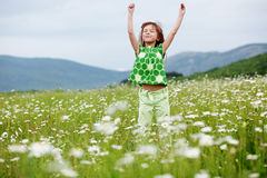 Child at camomile field Royalty Free Stock Image