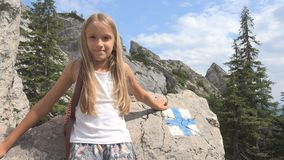 Child in Camping, Trail Signs in Mountains, Tourist Girl, Forest Trip Excursion.  stock images