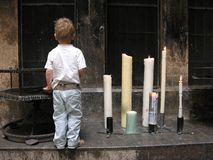 Child and candles Royalty Free Stock Photography