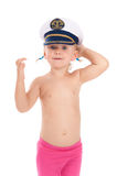 Child in the captain's cap Stock Images