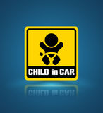 Child in car banner. Stock Photos