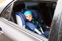 Child car guard seat. Child car blue guard seat Stock Photo