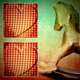 Child card retro rocking horse Royalty Free Stock Image