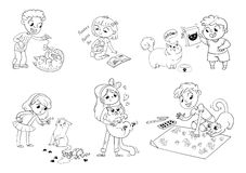 Child care for cat. Vector illustration Stock Photo
