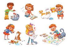 Child care for cat. Vector illustration Royalty Free Stock Photography