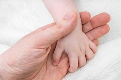 Child care concept. Father holds hand of his baby Stock Photo