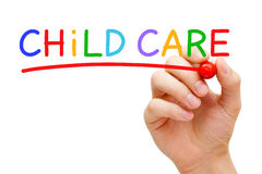 Child Care Concept. Hand writing Child Care with marker on transparent wipe board Stock Images