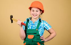 Child care development. Future profession. Builder engineer architect. Kid builder girl. Build your future yourself. Initiative child girl hard hat helmet royalty free stock photo