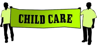 CHILD CARE on a green banner carried by two men. Illustration graphic Royalty Free Stock Photography