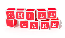 Child Care Toy Bocks. A coollection of toy blocks arranged to spell out child care Stock Image