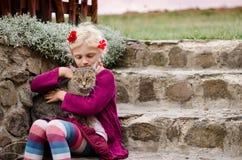 Child caressing domestic cat Stock Photos