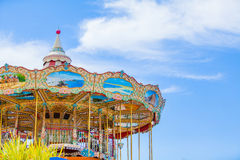 Child Carousel with sky background. Royalty Free Stock Photos