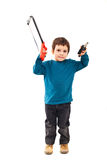 Child carpenter with tools Stock Photo