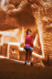 Child at Carrières de Lumières, an audiovisual show performed in an old limestone mine, near Baux-de-Provence. Royalty Free Stock Photography