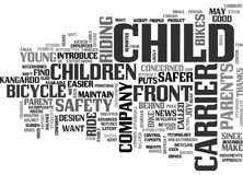 A Child Carrier For Bikes Puts Safety Up Front Word Cloud. A CHILD CARRIER FOR BIKES PUTS SAFETY UP FRONT TEXT WORD CLOUD CONCEPT Royalty Free Stock Images