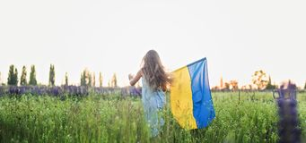 Child carries fluttering blue and yellow flag of Ukraine. In lupine field. Ukraine`s Independence Day. Flag Day stock images