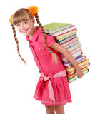 Child carrying pile of books. Isolated Stock Images