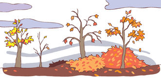 Child cartoon autumn landscape background () Royalty Free Stock Photo